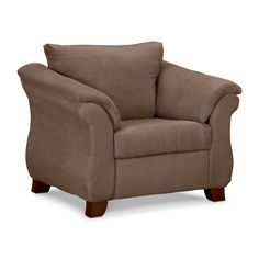 Easy Living. Seeking cozy comfort that leaves a nice cushion in your budget? Look no further than the Adrian Taupe chair! The full look offers a semi-attached cushion design, which contours to the body while retaining its shape, while flared pillowtop arms keep form and function in mind. Boasting a warm taupe color, the inviting fabric combines soft-as-suede touchability with the smart performance of microfiber.