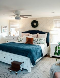 Bedroom Makeover- Dark Furniture to Bright White with Wallpaper Accent Wall - Bedroom Inspo - Bedding Master Bedroom Bedroom Furniture Sets, Home Furniture, Bedroom Decor, Bedroom Linens, Furniture Stores, Cheap Furniture, Furniture Outlet, Discount Furniture, Furniture Ideas