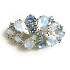 Vintage Blue Givre Glass & Rhinestones Brooch signed Made in Germany by MyVintageJewels