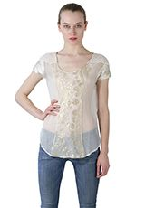 @Julie Gates Vintage short sleeve mixed media lurex and silk top