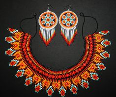 Huichol Jewelry Sets Native American by BiuluArtisanBoutique Diy Necklace Patterns, Beaded Earrings Patterns, Bead Loom Patterns, Jewelry Patterns, Bead Jewellery, Tribal Jewelry, Beaded Jewelry, African Necklace, Mexican Jewelry