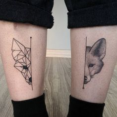 Half and half fox tattoos by Michele Volpi