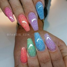 Candy Glitter summer rainbow nails - Julie Home Glam Nails, Dope Nails, Bling Nails, Beauty Nails, Glitter Nails, Cute Acrylic Nail Designs, Best Acrylic Nails, Summer Acrylic Nails, Summer Nails