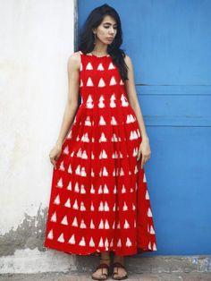 Red White Long Sleeveless Handwoven Double Ikat Dress With Knife Pleats & Side Pockets - D32F #Buydress #Onlinedress #Newdress #dress #Buyonlinedress #Shopdress #Cottondress #blockprint #dresss #kurta #womendress #longdress #ladiesdress #maxidress #naturaldye #traditionalart #ethnic #indo-western #fushiondress #fashion #style #Art #Love #Gifts #Authentic #indubindu