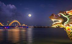 Cầu Rồng về đêm   #Travel #VietNam #DaNang #CauRong #DragonRiver #Beach #MustGo