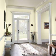 KILZ® MOONBEAM LE210-01 Yellow Painted Rooms, Yellow Bedroom Paint, Yellow Walls Living Room, Yellow Paint Colors, Wall Paint Colors, Interior Paint Colors, Paint Colors For Living Room, Yellow Painting, Kitchen With Yellow Walls