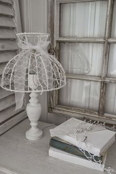Hearts and White Lilies: Lampshade of chicken wire