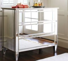 Perfect mirrored furniture to match bed frame/headboard for master bedroom. Park Mirrored Dresser #potterybarn