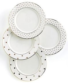 "kate spade new york ""Larabee Road"" Polka Dot Tidbit Plates, Set Of 4 - Stemware & Cocktail - Dining & Entertaining - Macy's"
