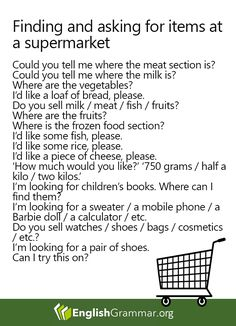 Phrases: Finding and asking for items at a supermarket