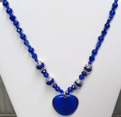 Colbalt Blue Heart Necklace 1000 off by BETTYSJEWELRYDESIGNS, $17.00