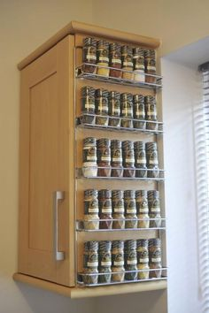 Spice Rack Ideas for Both Roomy or Cramped Kitchen and Other Rooms. Tags : Kitchen spice storage, Kitchen rack design and DIY storage ideas for kitchen. Diy Kitchen Storage, Diy Storage, Kitchen Organization, Organization Ideas, Storage Racks, Wall Storage, Home Storage Ideas, Spice Rack Organization, Pantry Storage