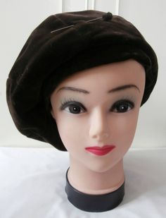 6a5e614c Vintage 1960's Edwardian Style, Dark Brown Velvet Beret Style Hat w/ Hat  Pin by