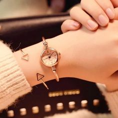 Creativos y Geniales Small Gold Bangle Bracelet Luxury Watches Stainless Steel Retro Ladies Quartz Wristwatches Fashion Small Gold Bangle Bracelet Luxury Watche. Gold Bangle Bracelet, Diamond Bracelets, Ankle Bracelets, Sterling Silver Bracelets, Bracelet Watch, Watches With Bracelets, Cuff Watches, Silver Rings, Wrist Watches