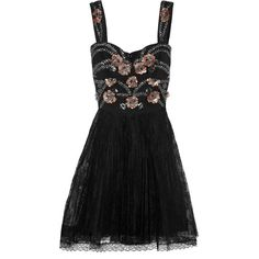 Marchesa Notte Embellished tulle and lace dress (7 585 ZAR) ❤ liked on Polyvore featuring dresses, black, black fitted dress, sequin dress, black beaded cocktail dress, black cocktail dresses and lace cocktail dress