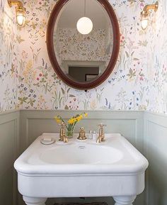 Coach Room Mirror - Beautiful House Tour Of Georgian Wedding Venue Iscoyd Park Showcasing Their Brand New Boutique Hotel Style Accommodation In Their Period Property Makeover. Small Bathroom Wallpaper, Bathroom Small, Trendy Wallpaper, Flower Wallpaper, Cloakroom Ideas Small, Powder Room With Wallpaper, Wallpaper In Bathroom, Small Vintage Bathroom, Cottage Wallpaper
