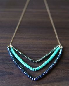 Chevron Pyrite Turquoise Necklace 14k Gold by friedasophie on Etsy, $56.00