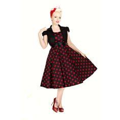 Šaty s bolerkem Vivian Black Red Polka Šaty ve stylu 50. let z londýnské  dílny 9a1db9245b