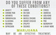 Do You Suffer From Any Of These Conditions?  Marijuana is powerful in edibles you make easily yourself. This book has great recipes for easy marijuana oil, delicious Cannabis Chocolates, and tasty Dragon Teeth Mints: MARIJUANA - Guide to Buying, Growing, Harvesting, and Making Medical Marijuana Oil and Delicious Candies to Treat Pain and Ailments by Mary Bendis, Second Edition. Only 2.99.    www.muzzymemo.com