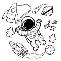 Illustration about Hand-drawn astronaut sets for decoration templates, backgrounds and for all needs. Illustration of cartoon, galaxy, illustration - 149579153 Space Drawings, Cute Doodles, Space Doodles, Drawings, Doodle Art Drawing, Astronaut Drawing, How To Draw Hands, Doodle Drawings, Astronaut Cartoon
