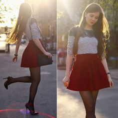 Get this look: http://lb.nu/look/7402988  More looks by Ariadna Majewska: http://lb.nu/ariadna92  Items in this look:  Black And White Blouse, Red Skirt   #chic #elegant #romantic