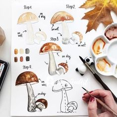 Zeichnen Ideen mit detaillierten Anleitungen How to draw a mushroom, guide in four steps for beginners, pictures for tracing watercolor Watercolor Illustration, Watercolour Painting, Painting & Drawing, Food Painting, Watercolor Landscape, Watercolour Tutorials, Watercolor Techniques, Painting Techniques, Bullet Journal Themes