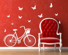 Bicycle themed decor- love this idea and you can find it on Etsy @ http://www.etsy.com/listing/76504485/art-wall-decal-bicycle-wall-vinyl-decal?show_panel=true for $34.00 as shown, or they can customize it for you as far as size... you even get to pick your own colors!!! So doing this for the craft room!