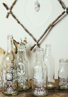 *Sea,Air & Sun * cute white paint designs on bottles