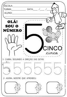 Atividade pronta - Numeral 5 Number Sense Activities, Activities For Kids, Preschool Math, In Kindergarten, Writing Numbers, Math Worksheets, Pre School, Kids Learning, Homeschool