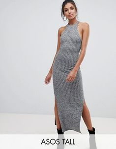 4f4148e5a1af45 ASOS DESIGN Tall marl rib maxi dress with racer neck Outfits, Dresses,  Design,