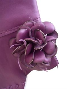 plum purple leather clutch with flower by tuscada on Etsy