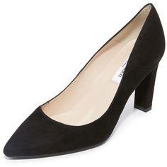 L.K. Bennett Tess Pumps (345 CAD) ❤ liked on Polyvore featuring shoes, pumps, black, black pointed toe pumps, leather pumps, black rubber sole shoes, black leather pumps and leather shoes