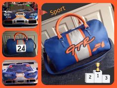 Blauw,oranje en champagne leren sporttas nr 24.