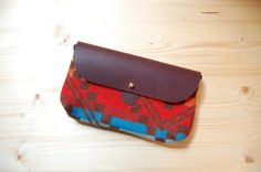 The Shelburne Clutch // Rainbow Pendleton Print and Denim with Soft Chocolate Brown Leather Closure