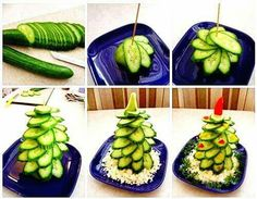 Cucumber tree :-D - Food Carving Ideas Christmas Party Food, Xmas Food, Christmas Appetizers, Christmas Treats, Funny Christmas, Diy Christmas, Salad Recipes Healthy Lunch, Salad Recipes For Dinner, Cucumber Recipes