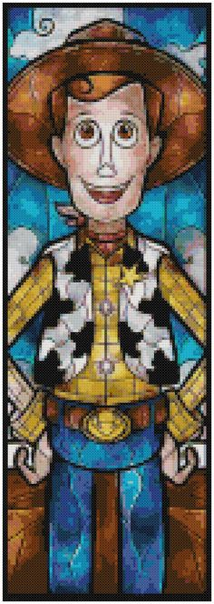 Cross Stitch Pattern DISNEY CHARACTERS Stained Glass Toy Story Woody Pdf File Only