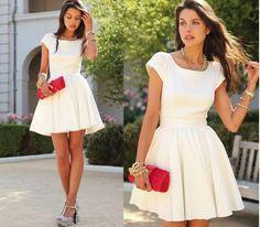 Vestido branco retrô Fashion com Vestidos retrô