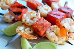 Skewered grilled shrimp and watermelon. Serve with squeezed lime juice.