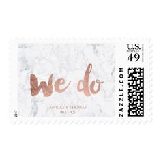 Rose gold typography marble We do wedding Postage