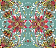 Rainbow floral fabric on Spoonflower by FuzzySkyFabric
