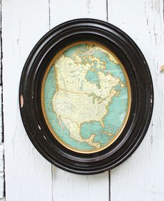 Window to the World: DIY Map Project inside vintage frame by RobbRestyle.com