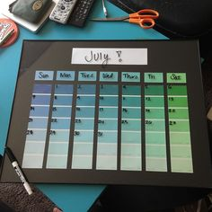 DIY dry erase paint colors calendar