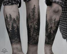 Forest Tattoo on Forearm Blackwork by Nastya - outdoor tattoo Tree Tattoo Men, Tree Tattoo Designs, Tattoo On, Tattoo Sleeve Designs, Sleeve Tattoos, Tattoo Photos, Tattoo Ideas, Forest Tattoo Sleeve, Forest Forearm Tattoo