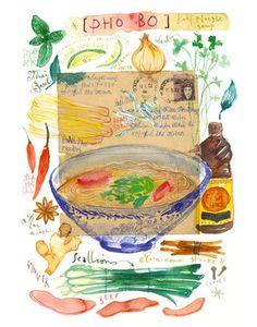 Vietnamese PHO BO recipe Original watercolor illustration Kitchen art Asian food Vietnam Cooking Boiling Meat recipe