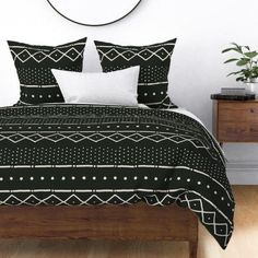 Boho Tribal Duvet Cover - Mudcloth Ii Bone On Black by domesticate - African Inspired Cotton Sateen Duvet Cover Bedding by Spoonflower Pillow Shams, Pillows, Cozy Bed, Cozy Room, African Mud Cloth, Linen Duvet, Black Bedding, Bed Covers