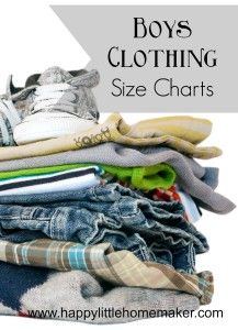 Printable Boys Clothing Size Charts from sizes 4-18 including Small/Medium/Large chart by brand!