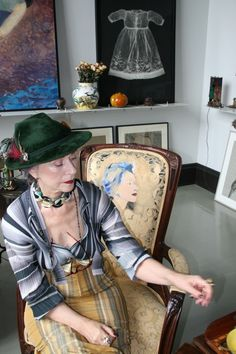 Father's Bavarian Fedora from the '30s, Custom Made Top and High Waisted Skirt designed by Beatrix, Bakelite Necklace