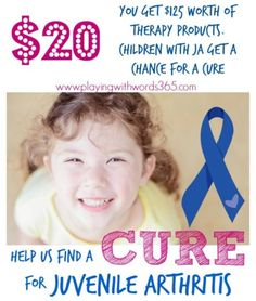 Score $125 worth of speech therapy products for just $20 bucks and help kids with Juvenile Arthritis! Click through to see how YOU can HELP!