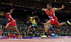 Aries Merritt    Aries Merritt, left, crosses the finish line ahead of US teammate Jason Richardson, right, and Jamaica's Hansle Parchment, center, to win gold in the men's 110-meter hurdles final Wednesday, Aug. 8. Merritt's winning time was 12.92 seconds.