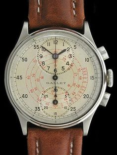 "Rare Vintage Gallet Chronograph with Time of Day in Register at Top of the dial.  These ""Regulator"" style Dials Allowed the User to Focus on the Main Chronograph Functions."